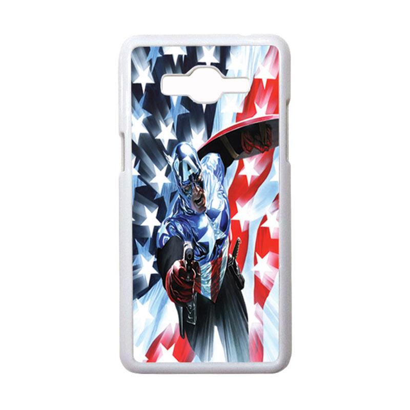 HEAVENCASE Motif Superhero Captain America 21 Casing for Samsung Galaxy Grand Prime - Putih