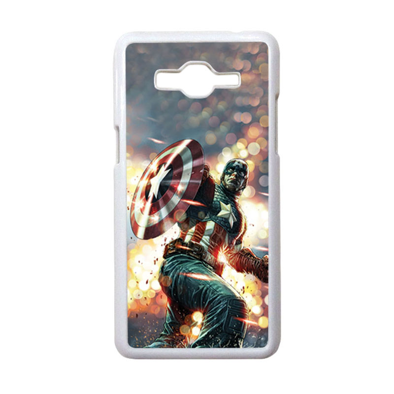 HEAVENCASE Motif Superhero Captain America 22 Casing for Samsung Galaxy Grand Prime - Putih