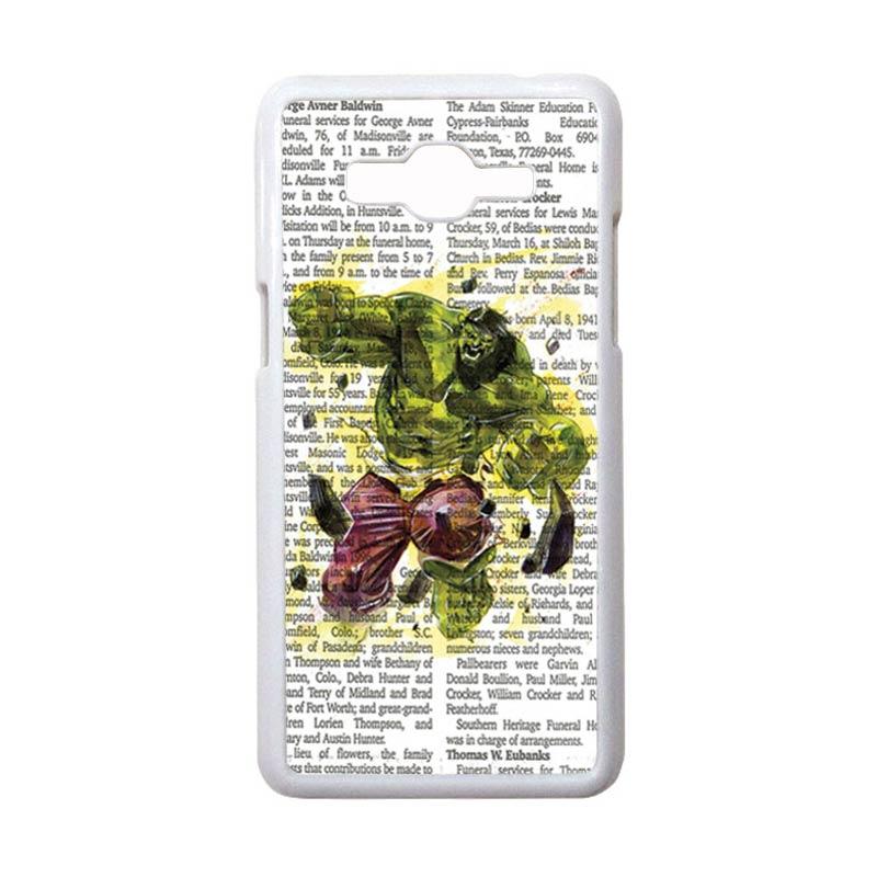 HEAVENCASE Motif Superhero Hulk 04 Casing for Samsung Galaxy Grand Prime - Putih