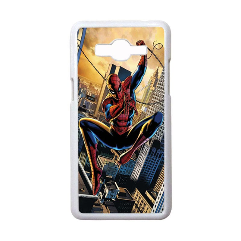 HEAVENCASE Motif Superhero Spiderman 10 Casing for Samsung Galaxy Grand Prime - Putih