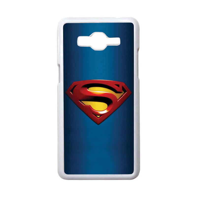 HEAVENCASE Motif Superhero Superman 01 Casing for Samsung Galaxy Grand Prime - Putih