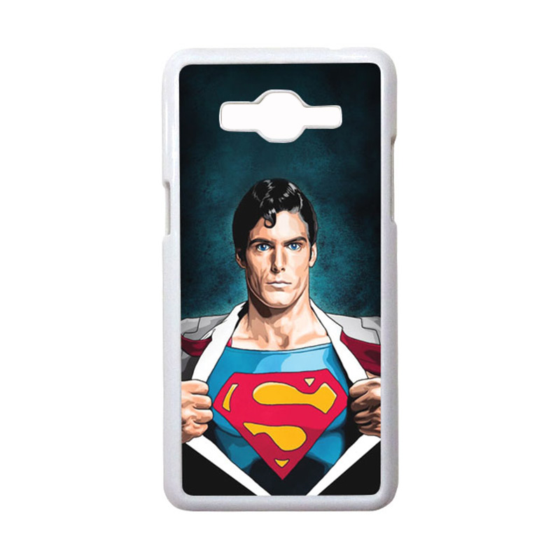 HEAVENCASE Motif Superhero Superman 02 Casing for Samsung Galaxy Grand Prime - Putih