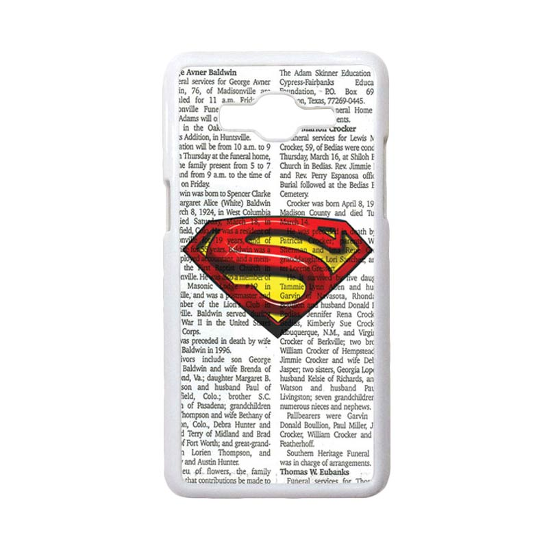 HEAVENCASE Motif Superhero Superman 03 Casing for Samsung Galaxy Grand Prime - Putih