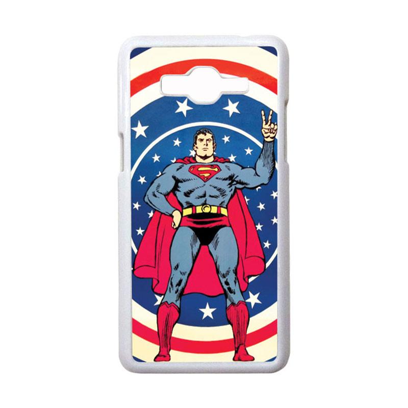 HEAVENCASE Motif Superhero Superman 06 Casing for Samsung Galaxy Grand Prime - Putih