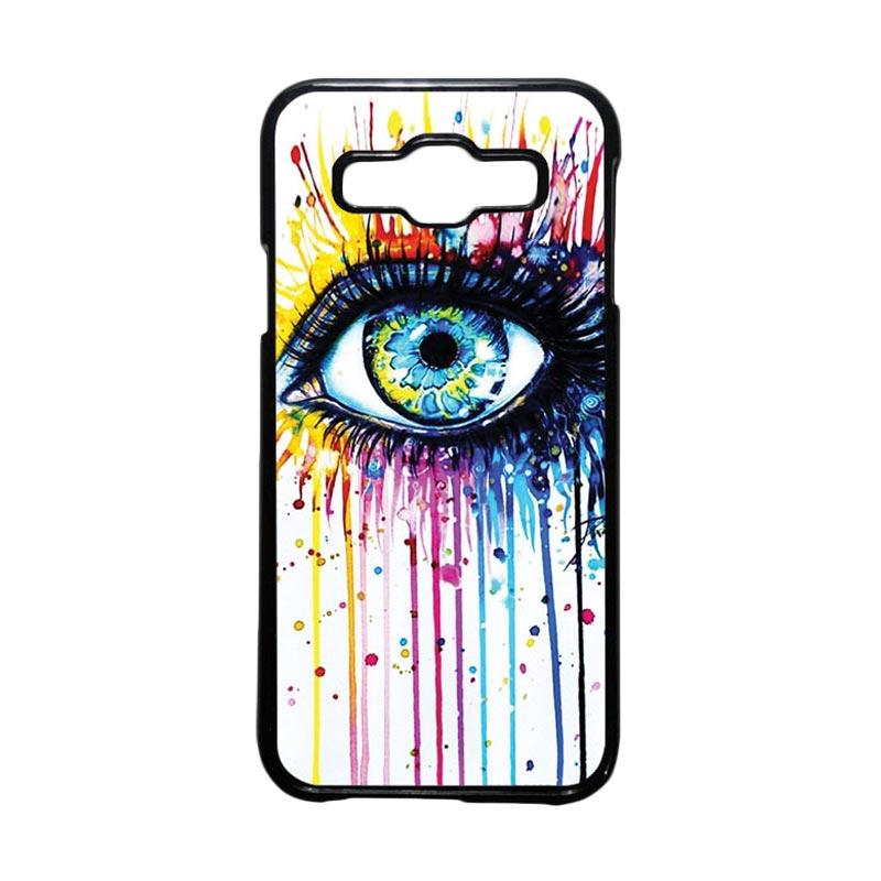 HEAVENCASE Motif Unik Melting Eyes Casing for Samsung Galaxy E5 - Hitam