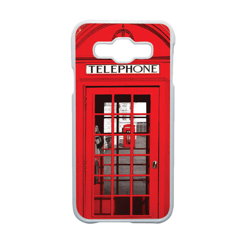 HEAVENCASE Motif Unik Red Telephone Box Casing for Samsung Galaxy E5 - Putih