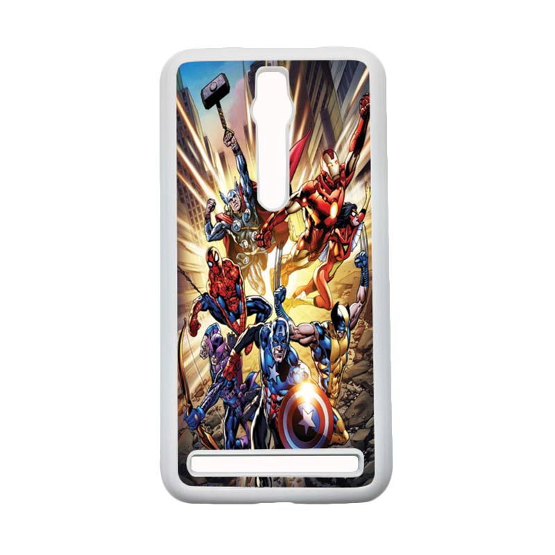 HEAVENCASE Superhero Avengers 01 Hardcase Casing for Asus Zenfone 2 Ze551ml or Ze550ml - Putih
