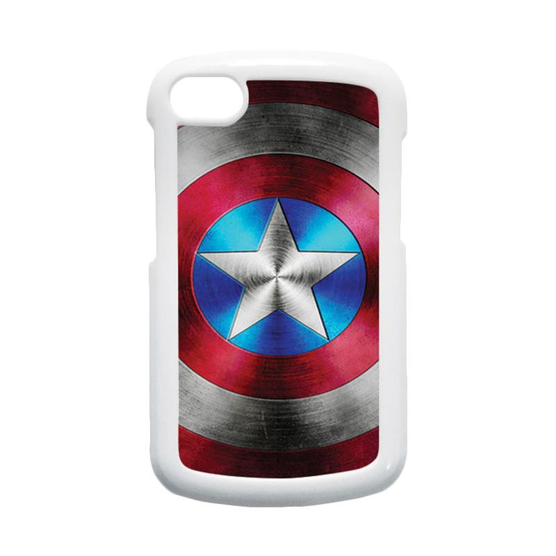 HEAVENCASE Superhero Captain America 01 Hardcase Putih Casing for Blackberry Q10