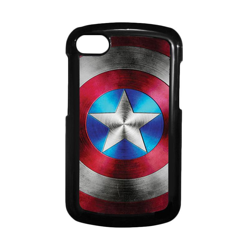 HEAVENCASE Superhero Captain America 01 Hitam Hardcase Casing for Blackberry Q10