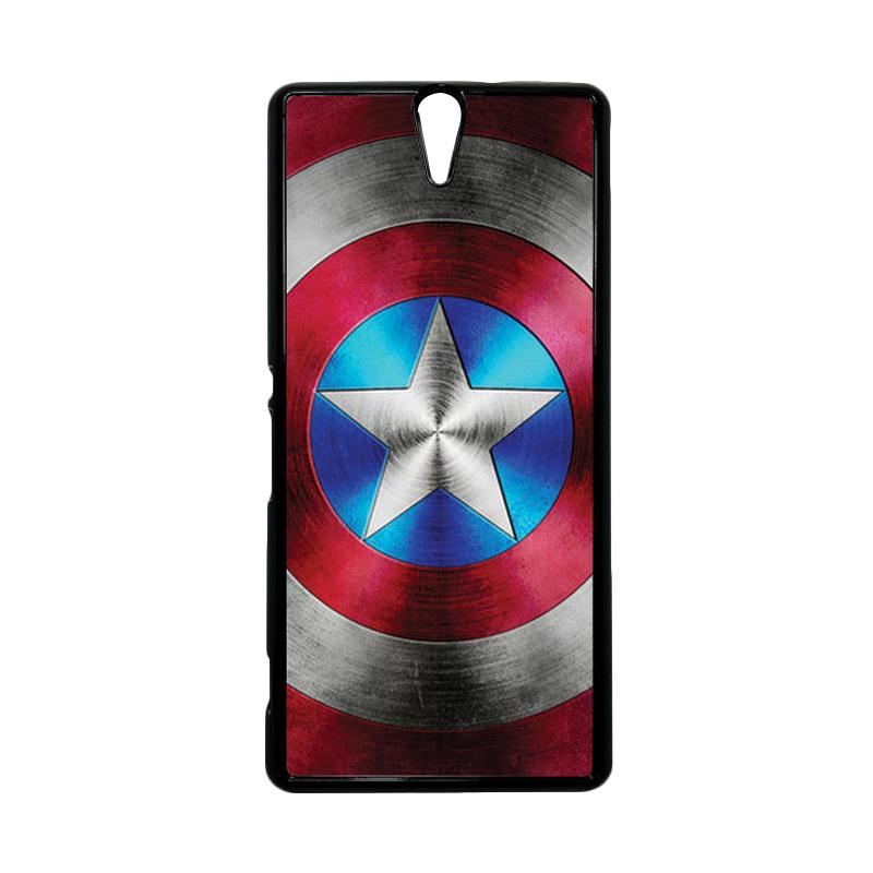 HEAVENCASE Superhero Captain America 01 Hitam Hardcase Casing for Sony Xperia C5 Ultra