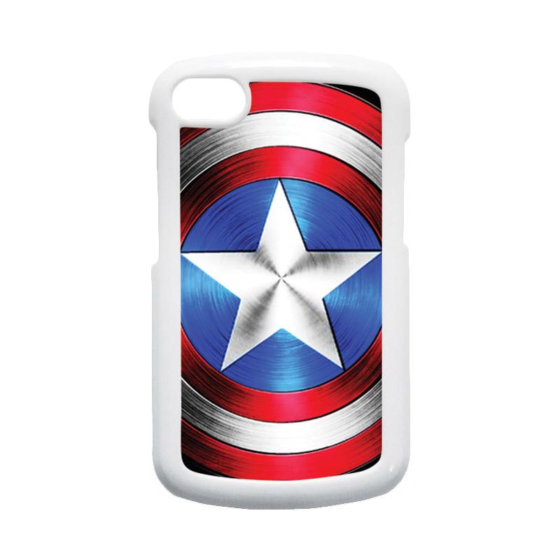 HEAVENCASE Superhero Captain America 02 Hardcase Putih Casing for Blackberry Q10