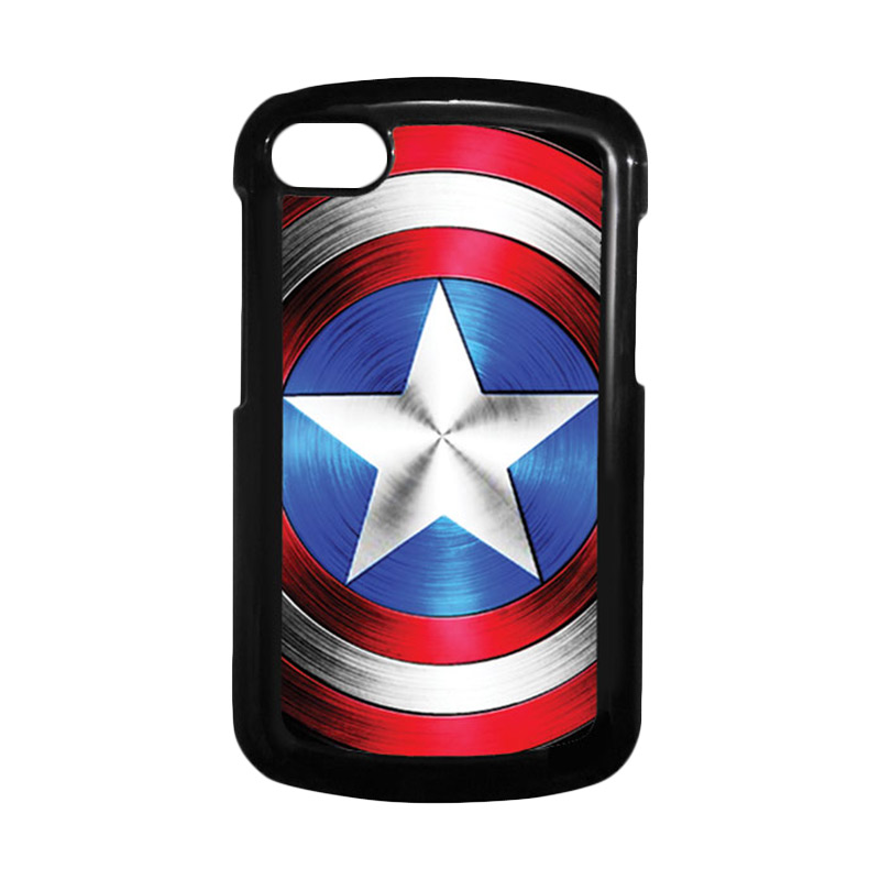 HEAVENCASE Superhero Captain America 02 Hitam Hardcase Casing for Blackberry Q10