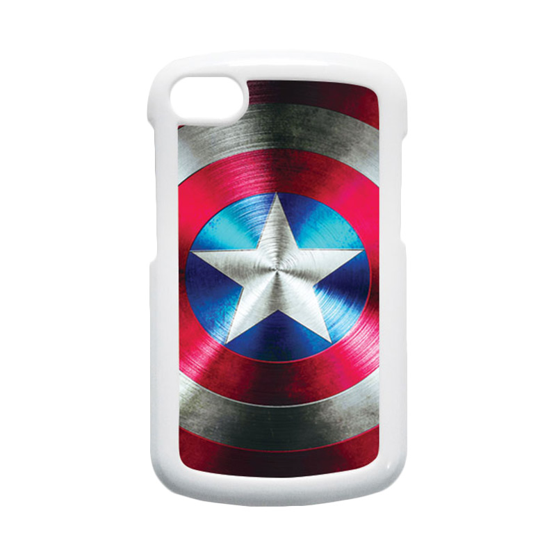 HEAVENCASE Superhero Captain America 03 Hardcase Putih Casing for Blackberry Q10