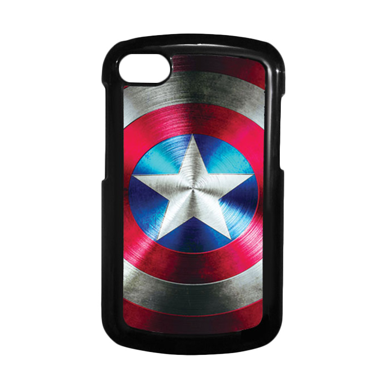 HEAVENCASE Superhero Captain America 03 Hitam Hardcase Casing for Blackberry Q10