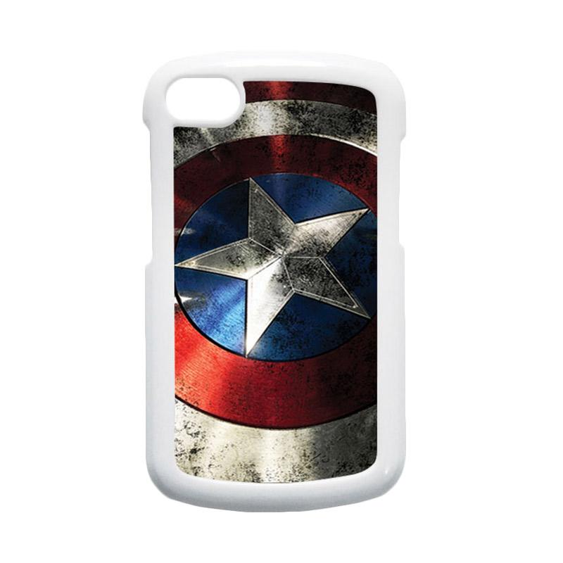 HEAVENCASE Superhero Captain America 06 Hardcase Putih Casing for Blackberry Q10