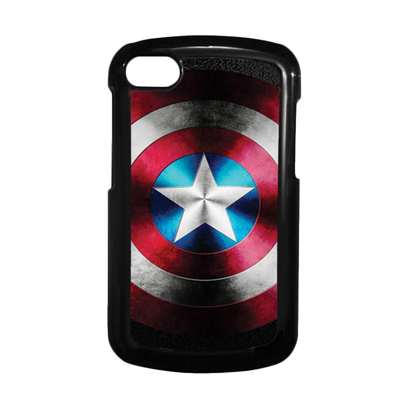 HEAVENCASE Superhero Captain America 07 Hitam Hardcase Casing for Blackberry Q10