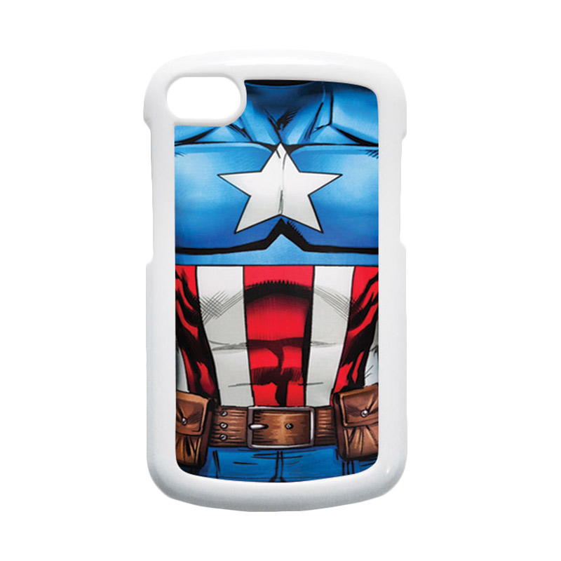 HEAVENCASE Superhero Captain America 08 Hardcase Putih Casing for Blackberry Q10