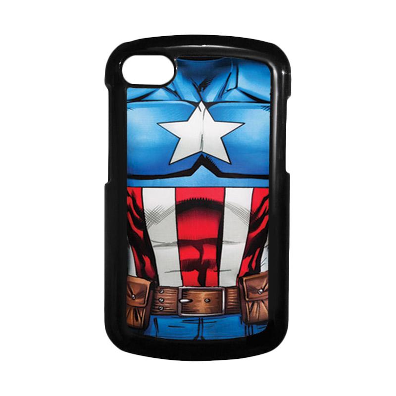 HEAVENCASE Superhero Captain America 08 Hitam Hardcase Casing for Blackberry Q10