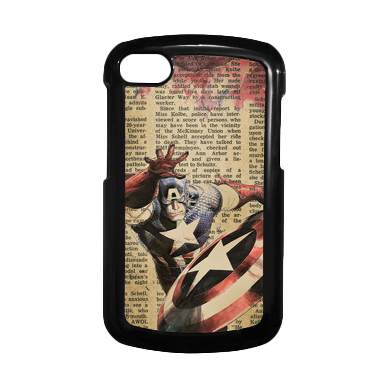 HEAVENCASE Superhero Captain America 09 Hitam Hardcase Casing for Blackberry Q10