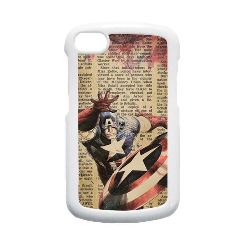 HEAVENCASE Superhero Captain America 09 Putih Hardcase Casing for Blackberry Q10