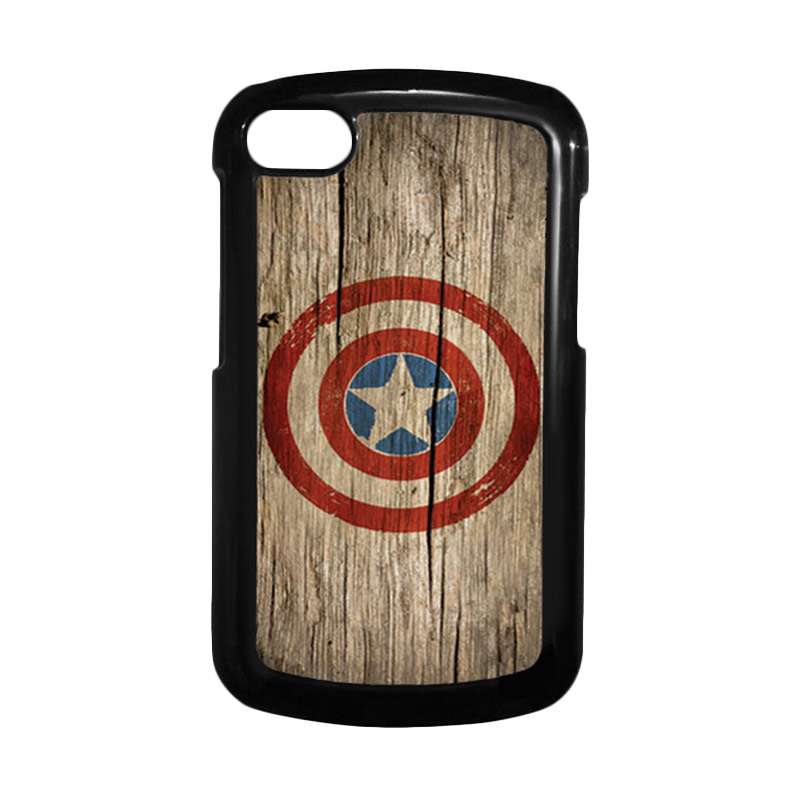 HEAVENCASE Superhero Captain America 11 Hitam Hardcase Casing for Blackberry Q10