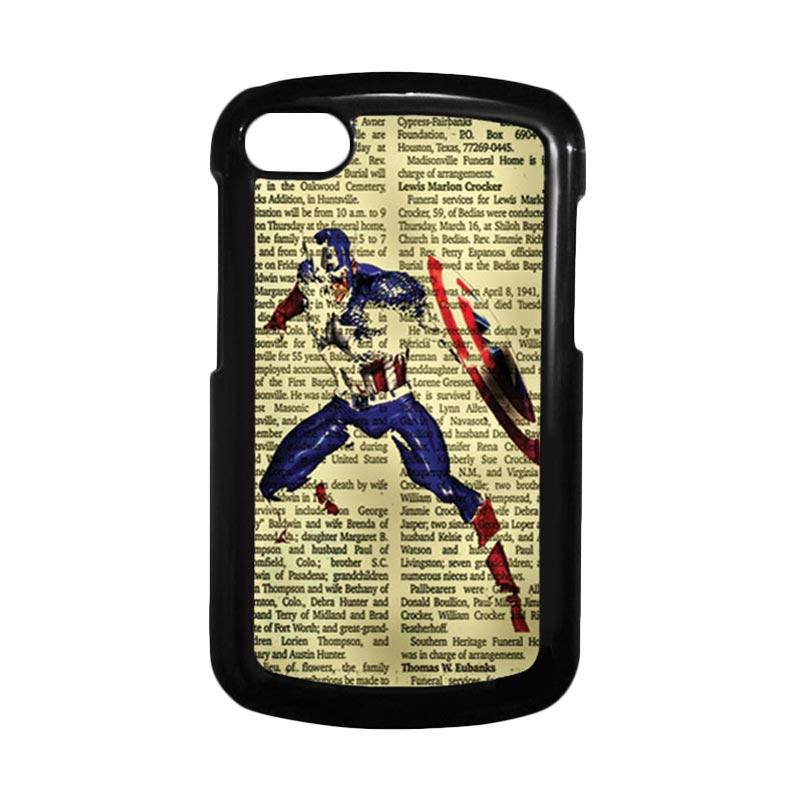 HEAVENCASE Superhero Captain America 12 Hitam Hardcase Casing for Blackberry Q10