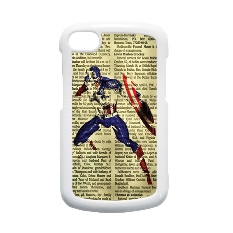 HEAVENCASE Superhero Captain America 12 Putih Hardcase Casing for Blackberry Q10