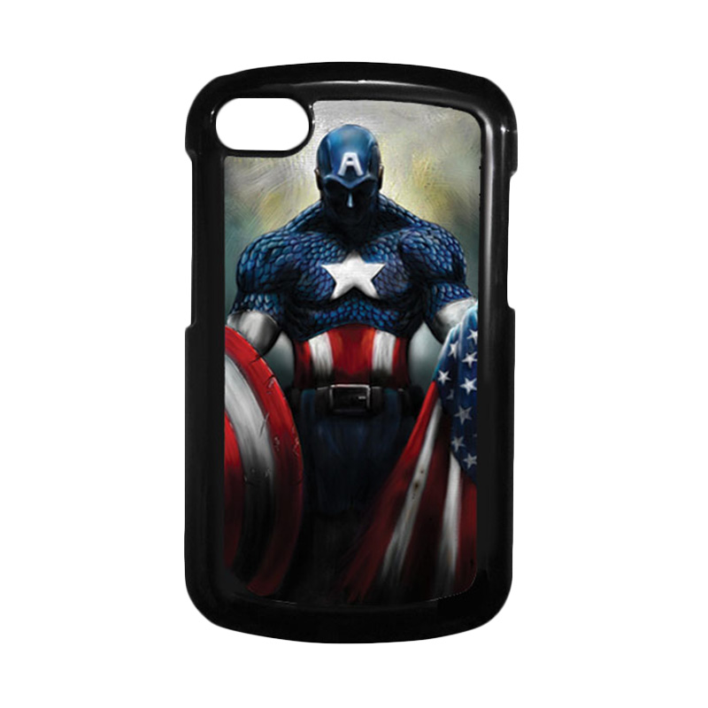 HEAVENCASE Superhero Captain America 13 Hitam Hardcase Casing for Blackberry Q10