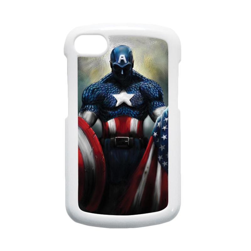 HEAVENCASE Superhero Captain America 13 Putih Hardcase Casing for Blackberry Q10