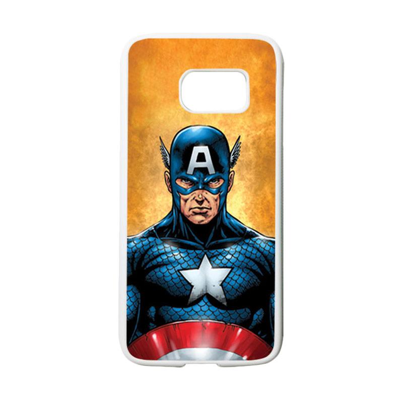 HEAVENCASE Superhero Captain America 14 Casing for Samsung Galaxy S7 - Putih