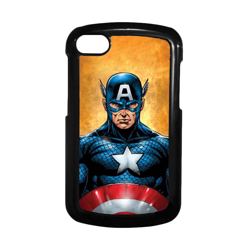 HEAVENCASE Superhero Captain America 14 Hitam Hardcase Casing for Blackberry Q10