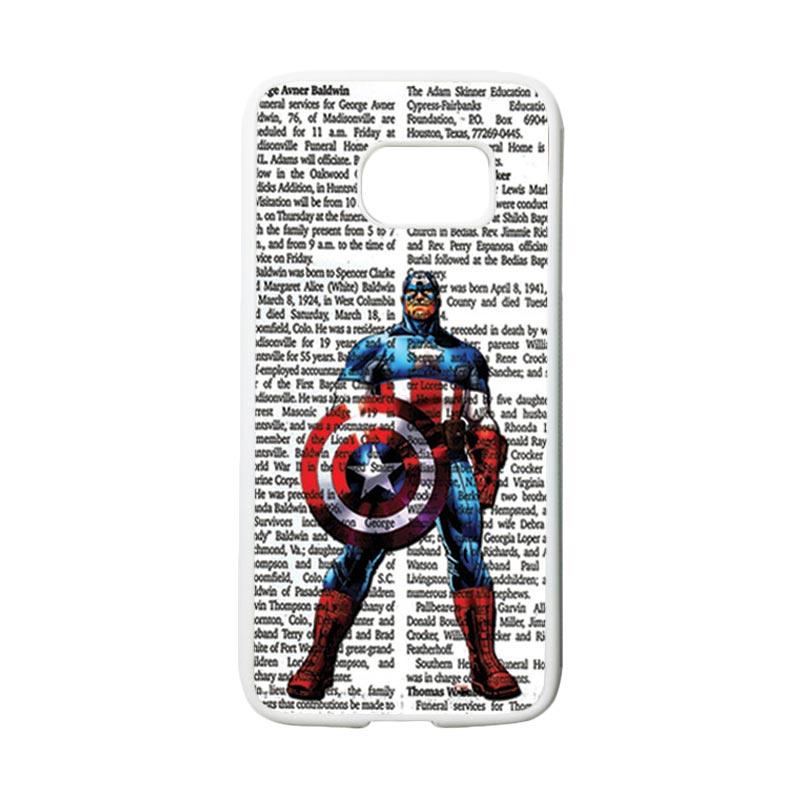 HEAVENCASE Superhero Captain America 15 Casing for Samsung Galaxy S7 - Putih
