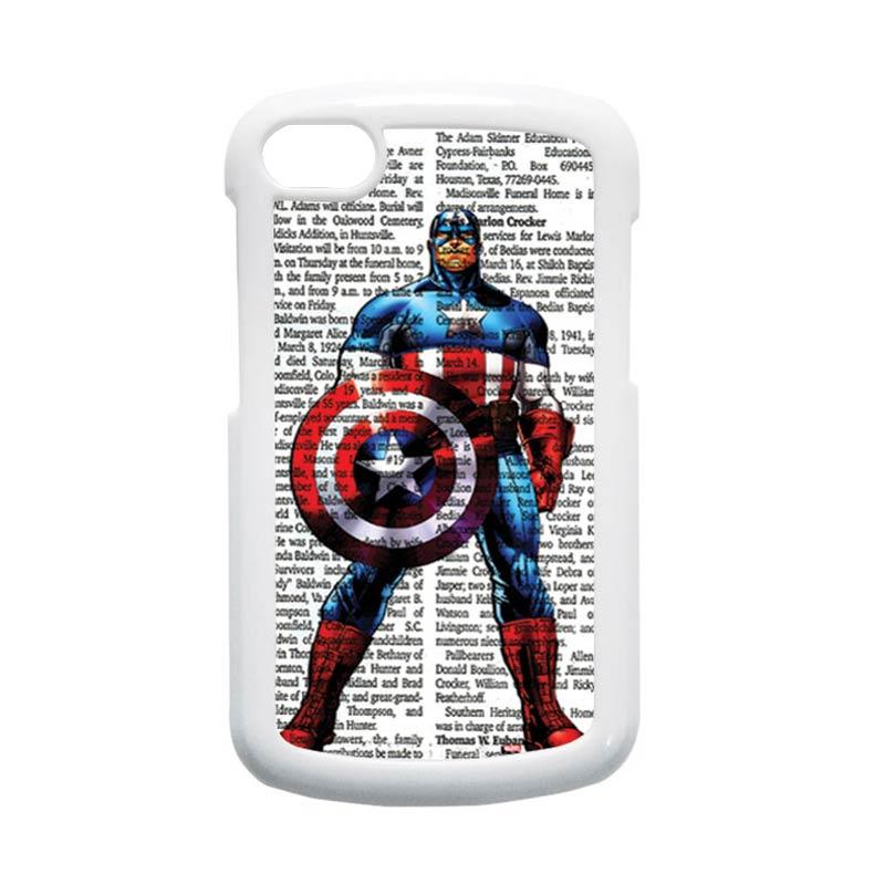 HEAVENCASE Superhero Captain America 15 Putih Hardcase Casing for Blackberry Q10