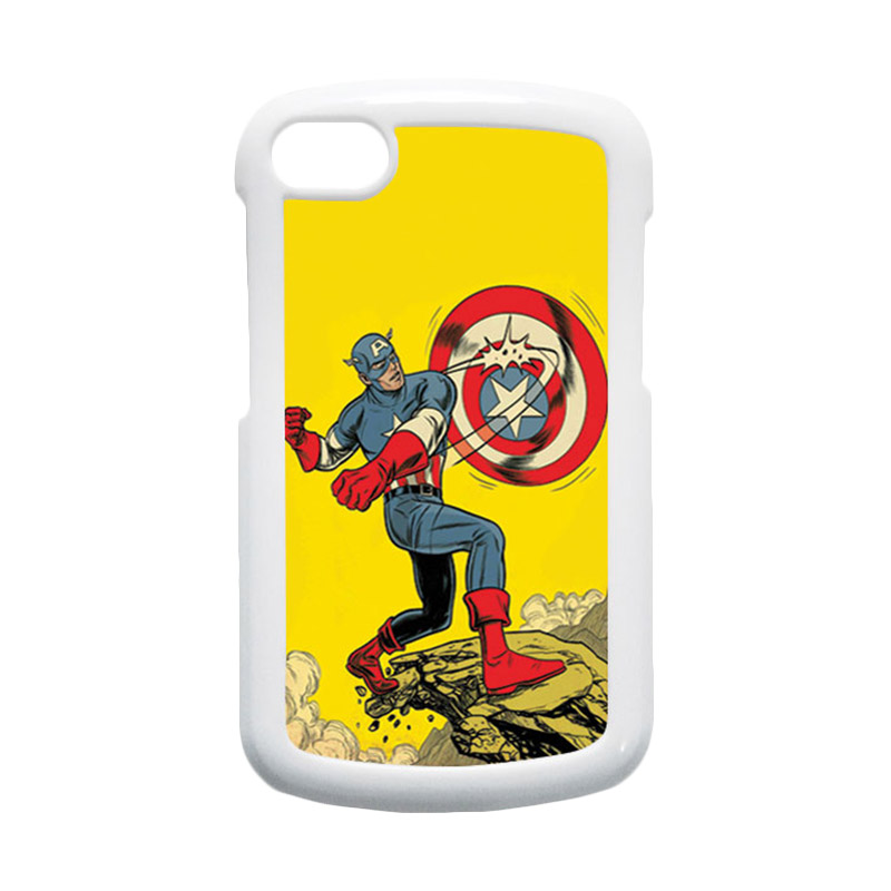 HEAVENCASE Superhero Captain America 16 Putih Hardcase Casing for Blackberry Q10