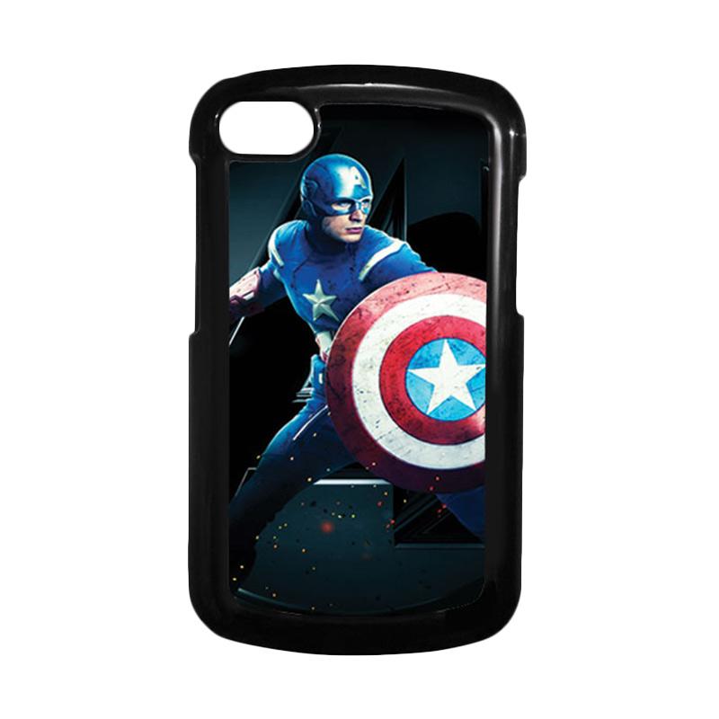 HEAVENCASE Superhero Captain America 17 Hitam Hardcase Casing for Blackberry Q10