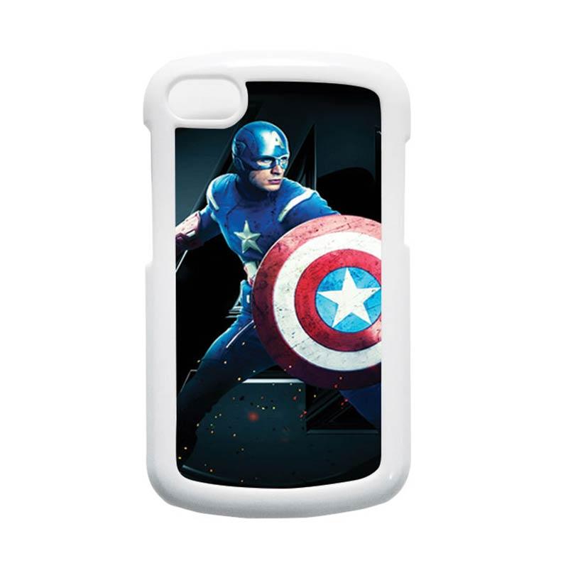 HEAVENCASE Superhero Captain America 17 Putih Hardcase Casing for Blackberry Q10