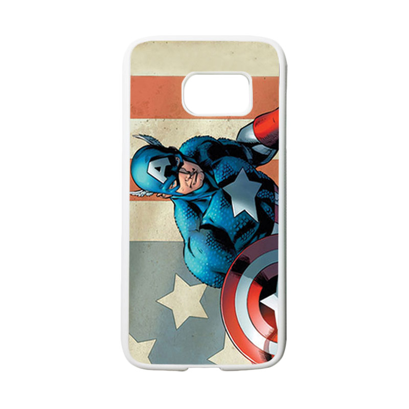 HEAVENCASE Superhero Captain America 18 Casing for Samsung Galaxy S7 - Putih