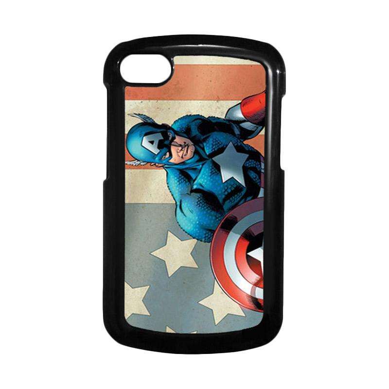 HEAVENCASE Superhero Captain America 18 Hitam Hardcase Casing for Blackberry Q10