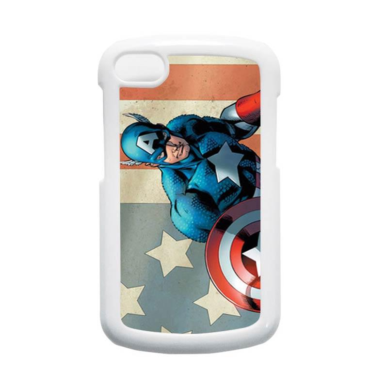 HEAVENCASE Superhero Captain America 18 Putih Hardcase Casing for Blackberry Q10