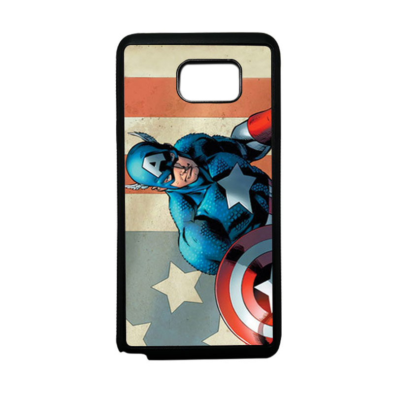 HEAVENCASE Superhero Captain America 18 Softcase TPU Bumper Casing for Samsung Galaxy Note 5 - Hitam