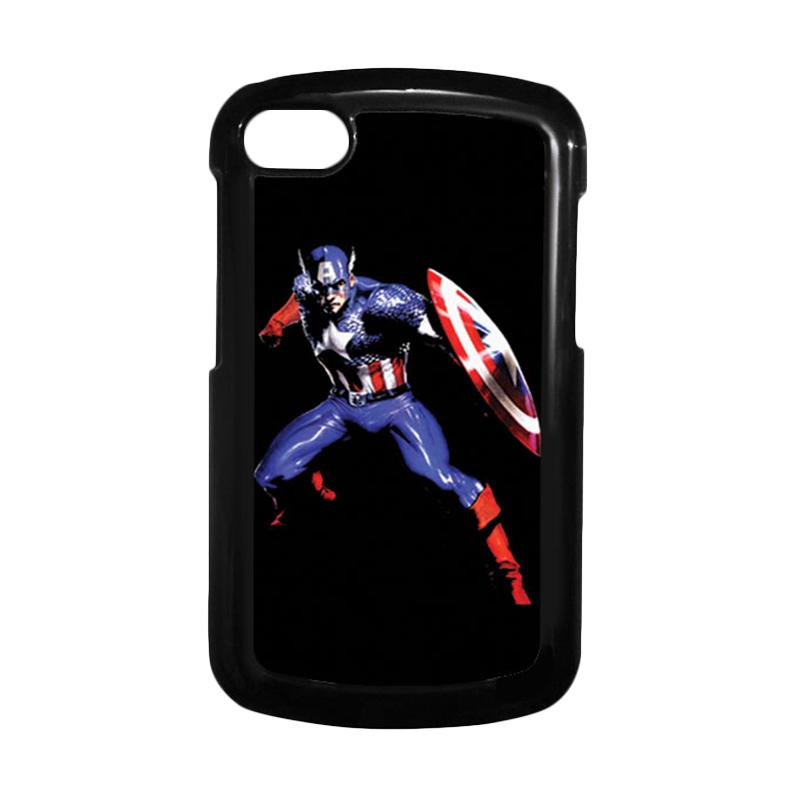 HEAVENCASE Superhero Captain America 19 Hitam Hardcase Casing for Blackberry Q10