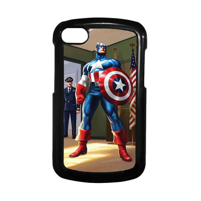 HEAVENCASE Superhero Captain America 20 Hitam Hardcase Casing for Blackberry Q10
