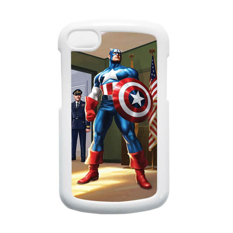 HEAVENCASE Superhero Captain America 20 Putih Hardcase Casing for Blackberry Q10