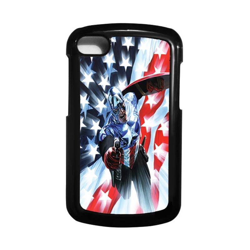HEAVENCASE Superhero Captain America 21 Hitam Hardcase Casing for Blackberry Q10