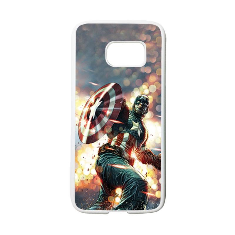 HEAVENCASE Superhero Captain America 22 Casing for Samsung Galaxy S7 - Putih