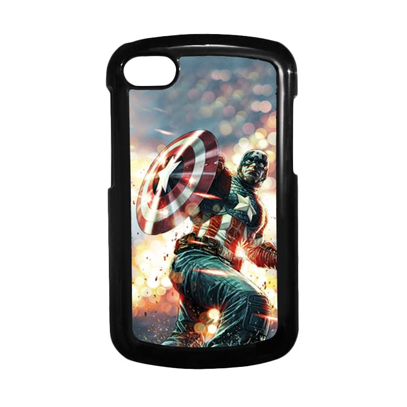 HEAVENCASE Superhero Captain America 22 Hitam Hardcase Casing for Blackberry Q10