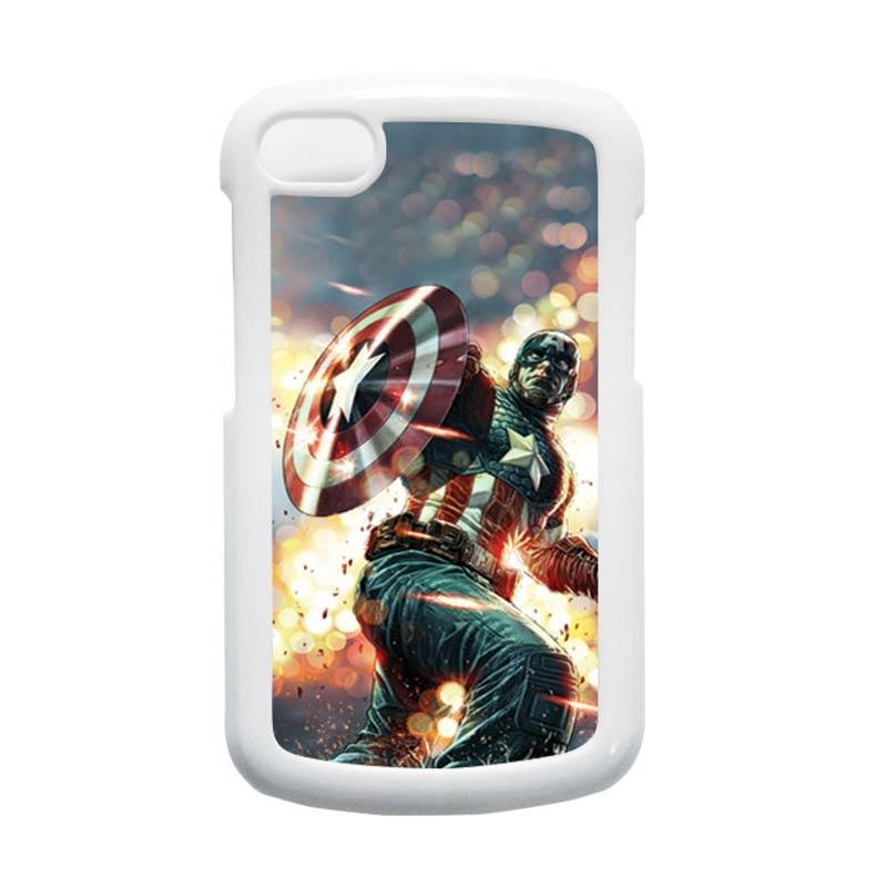 HEAVENCASE Superhero Captain America 22 Putih Hardcase Casing for Blackberry Q10