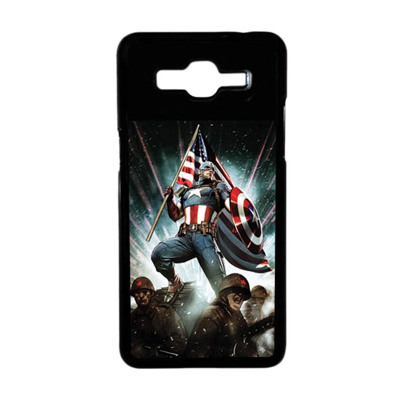 HEAVENCASE Superhero Captain America 23 Hardcase Casing for Samsung Galaxy Grand Prime - Hitam