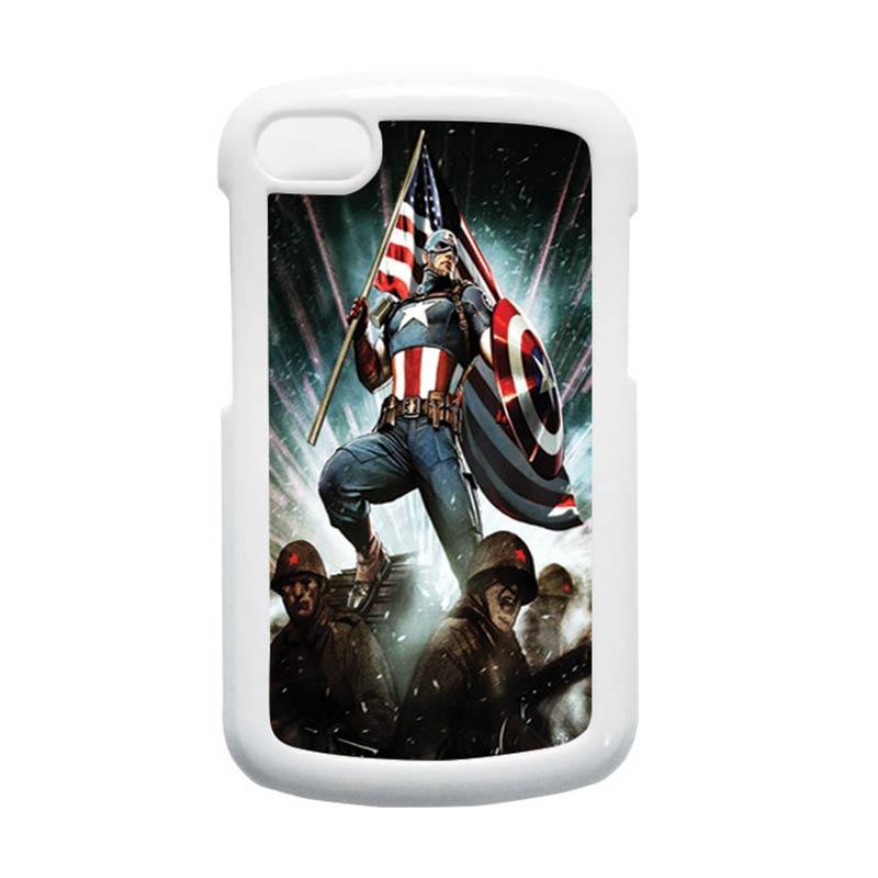 HEAVENCASE Superhero Captain America 23 Putih Hardcase Casing for Blackberry Q10