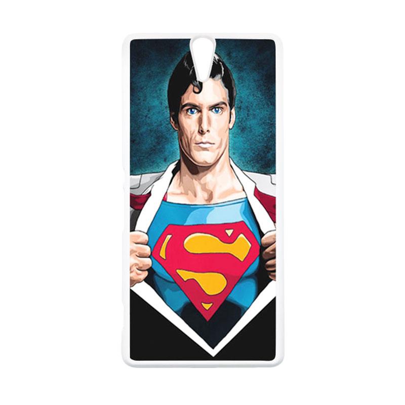 HEAVENCASE Superhero Superman 02 Putih Hardcase Casing for Sony Xperia C5 Ultra